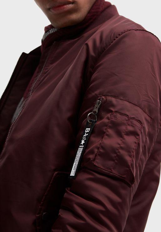 Sleeve Pocket Bomber Jacket