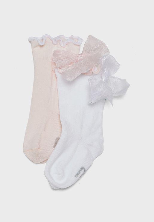 Kids 2 Pack Bow Detail Socks