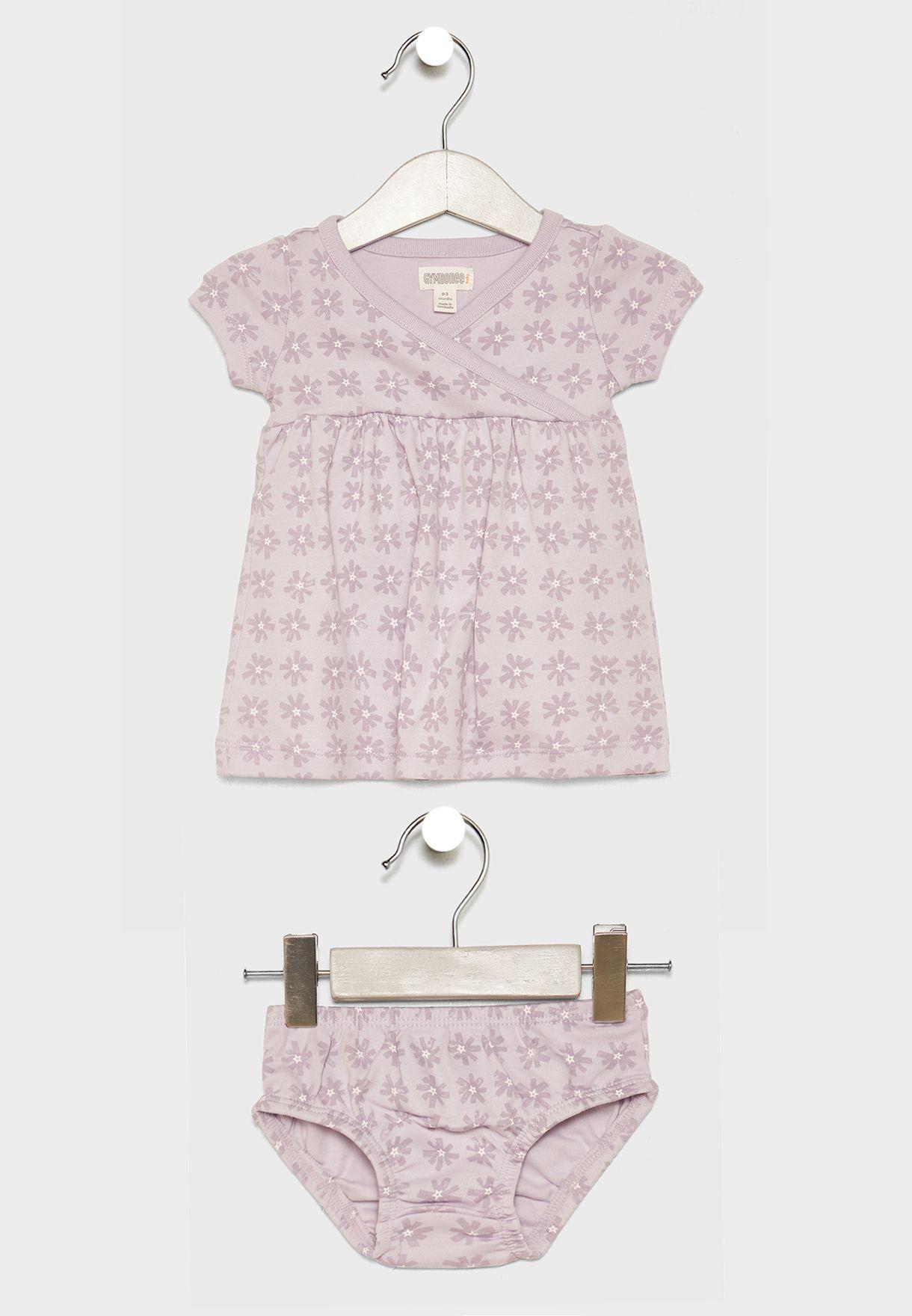 Infant Check Dress + Shorts Set