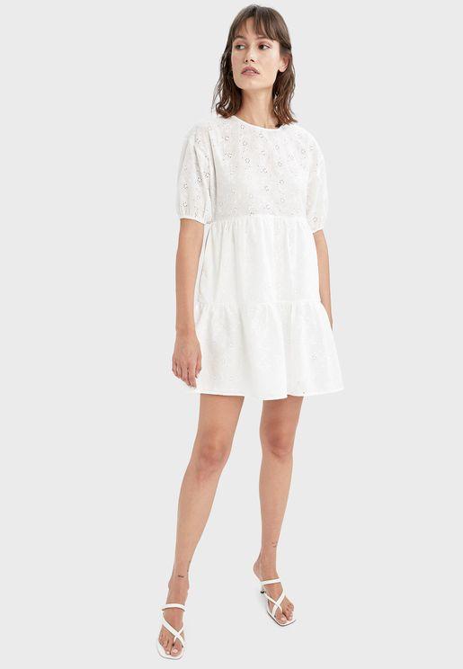 Puff Sleeves Pleated Dress