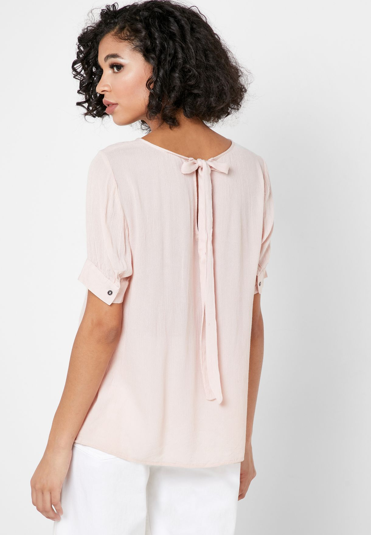 Back Tie Puff Sleeve Top