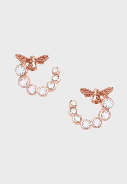 OBJAME162N Lucky Bee Swirl Hoop Earrings