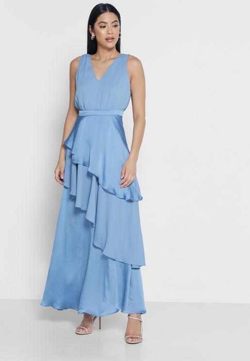 فستان مكشكش بياقة V