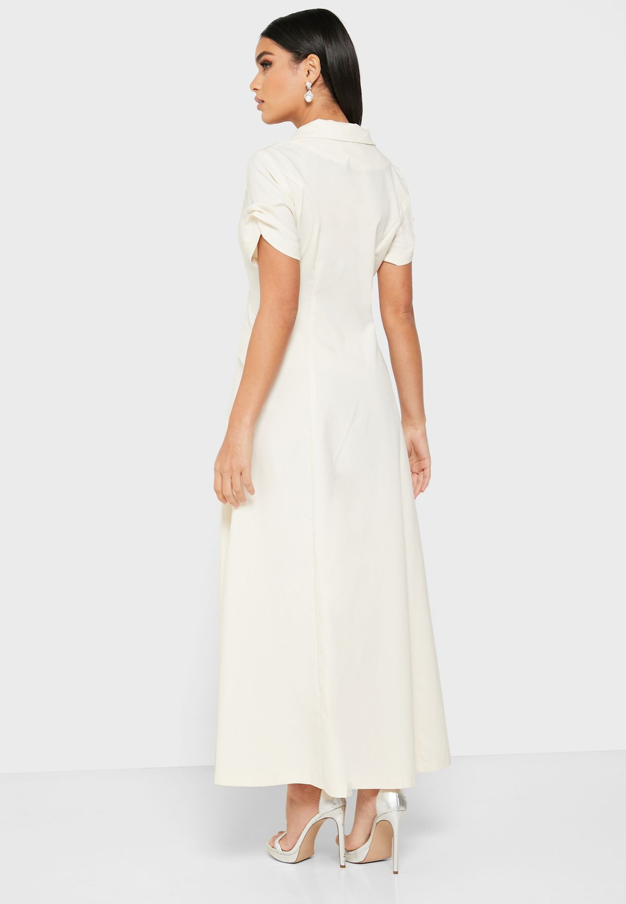 Wrap Front Double Breasted Midi Dress