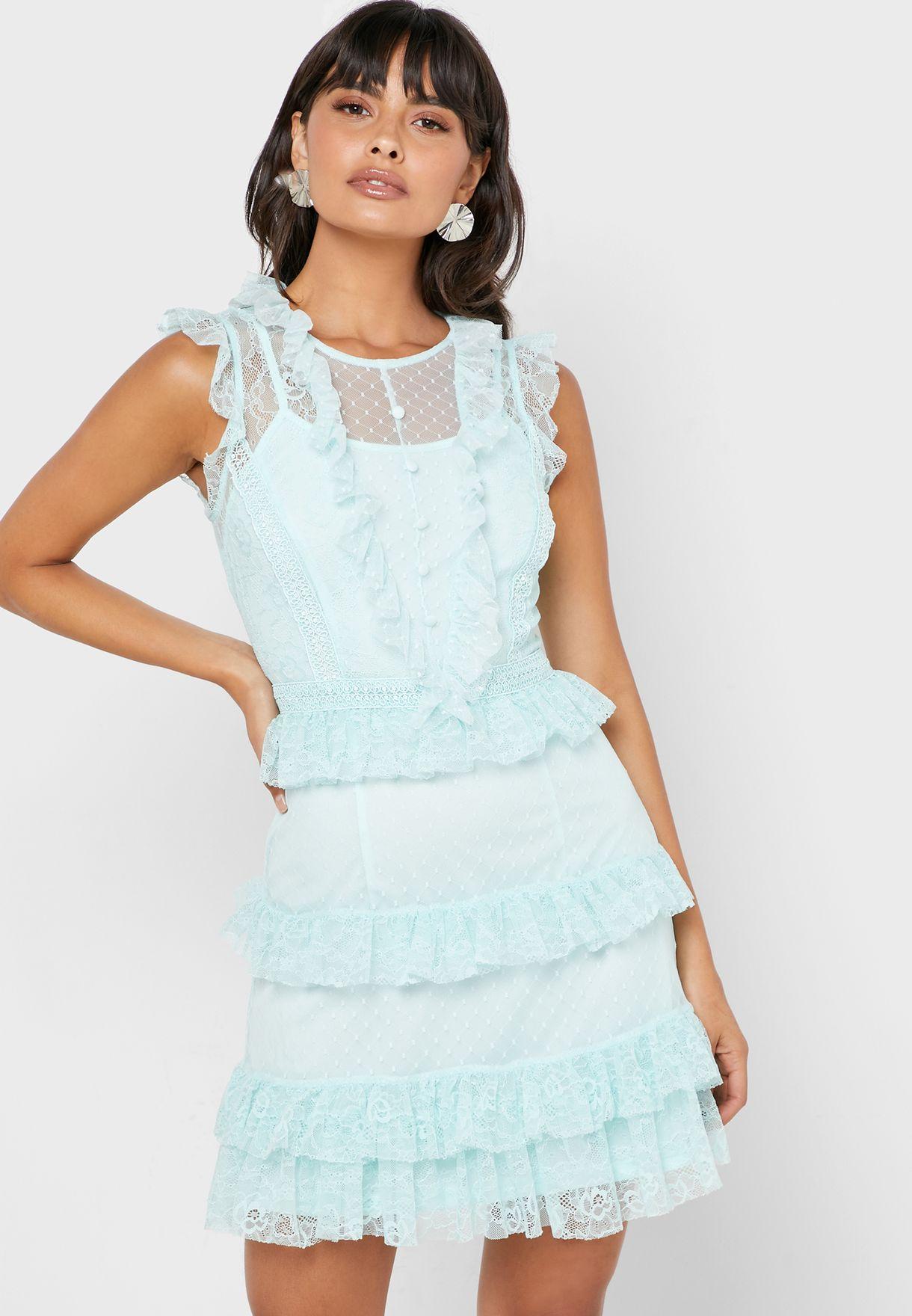 High Neck Lace Trim Dress