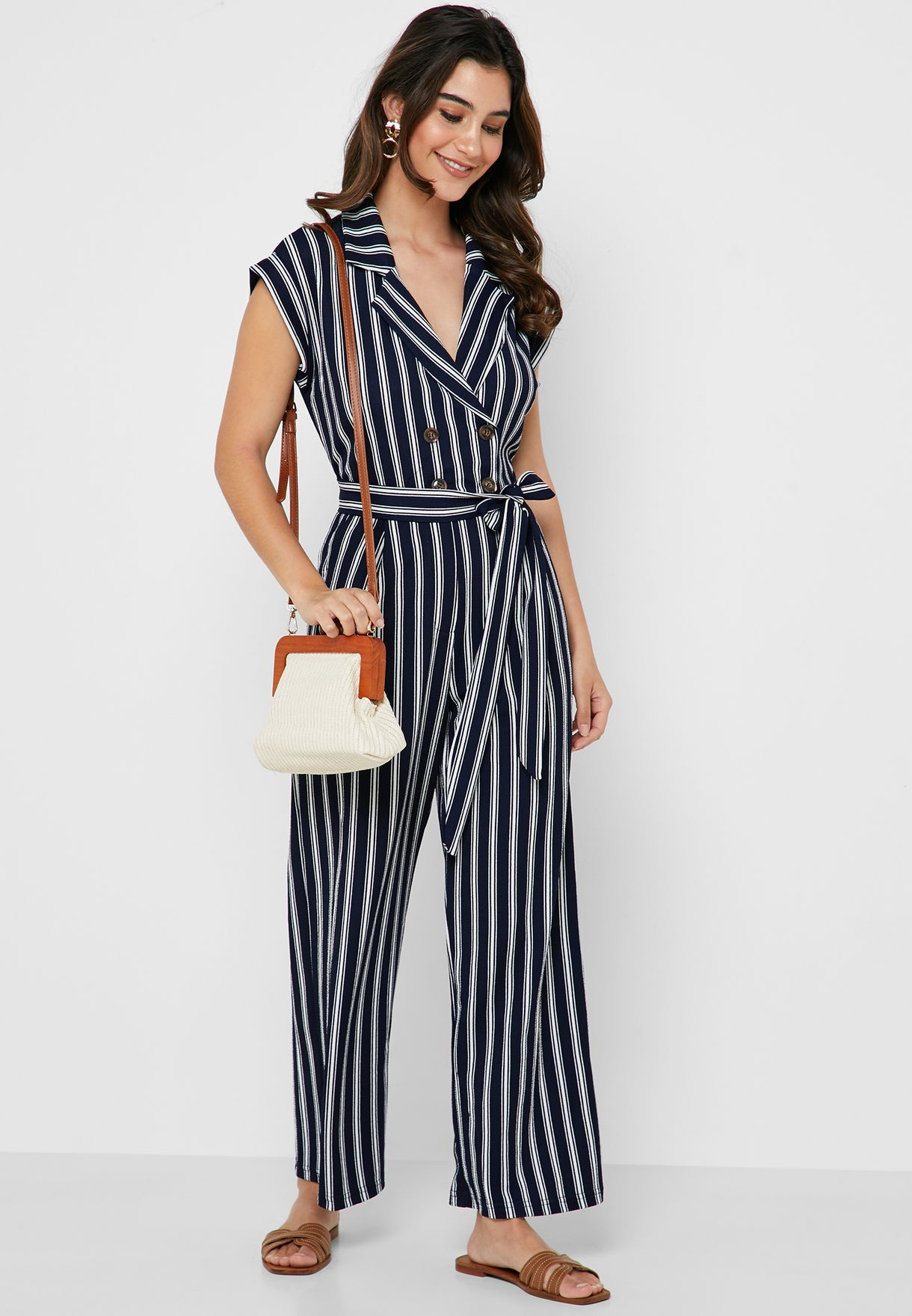 Striped Double Breasted Jumpsuit