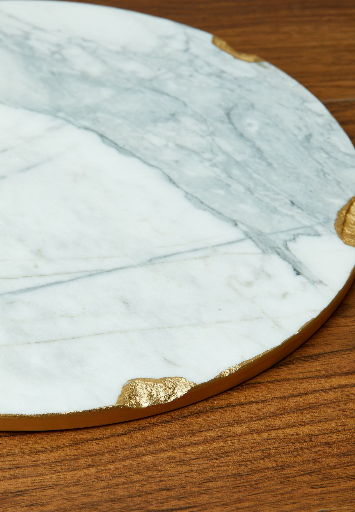 Marble Platter With Gold Rim