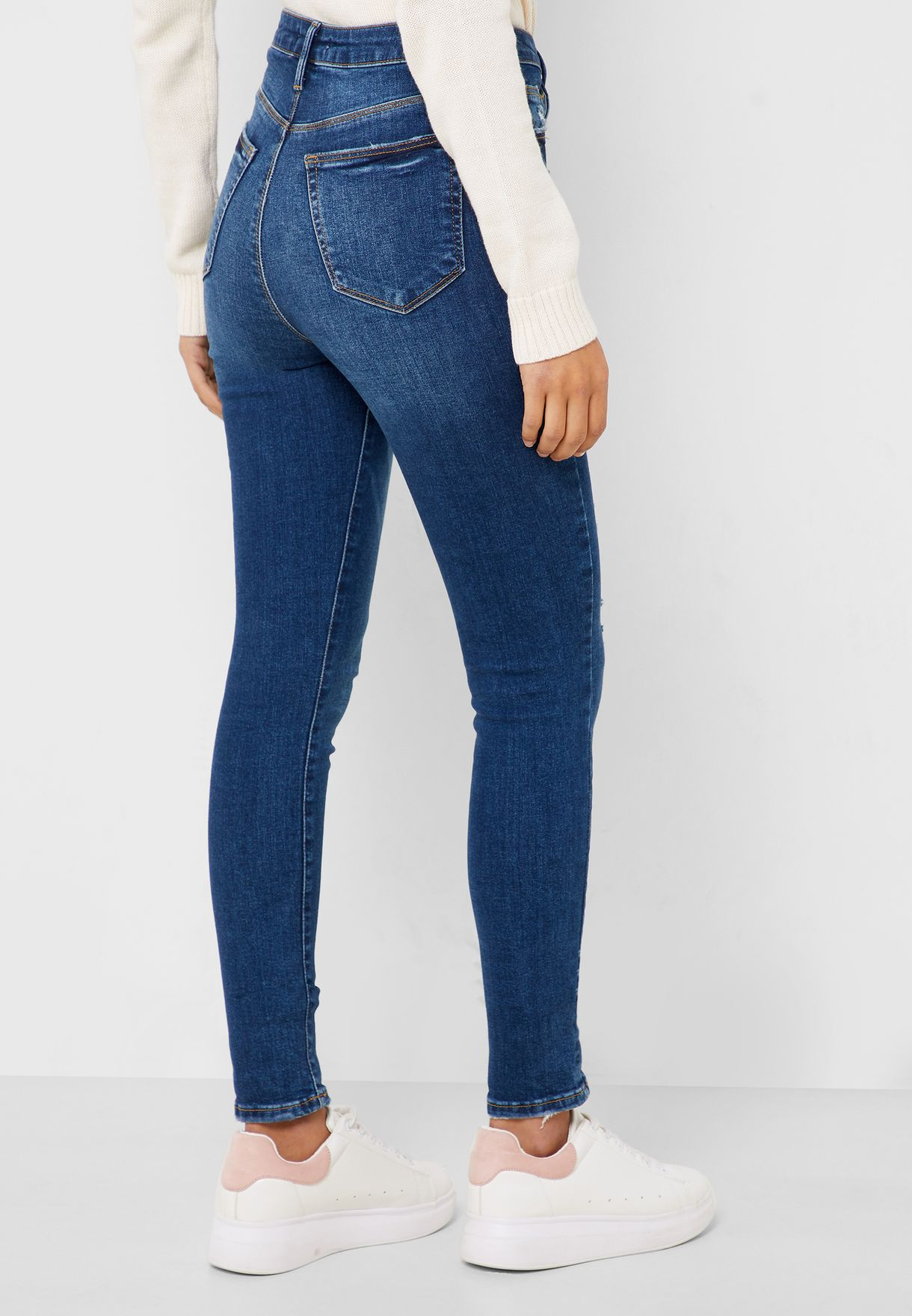 Distressed Mid Wash Jeans