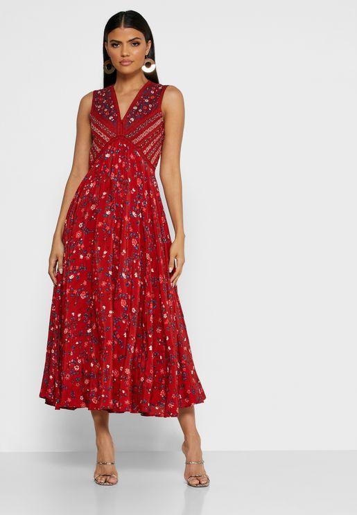 Pleat Detail Floral Pint Dress