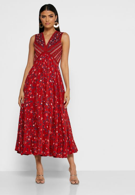 Pleat Detail Floral Pint Dress