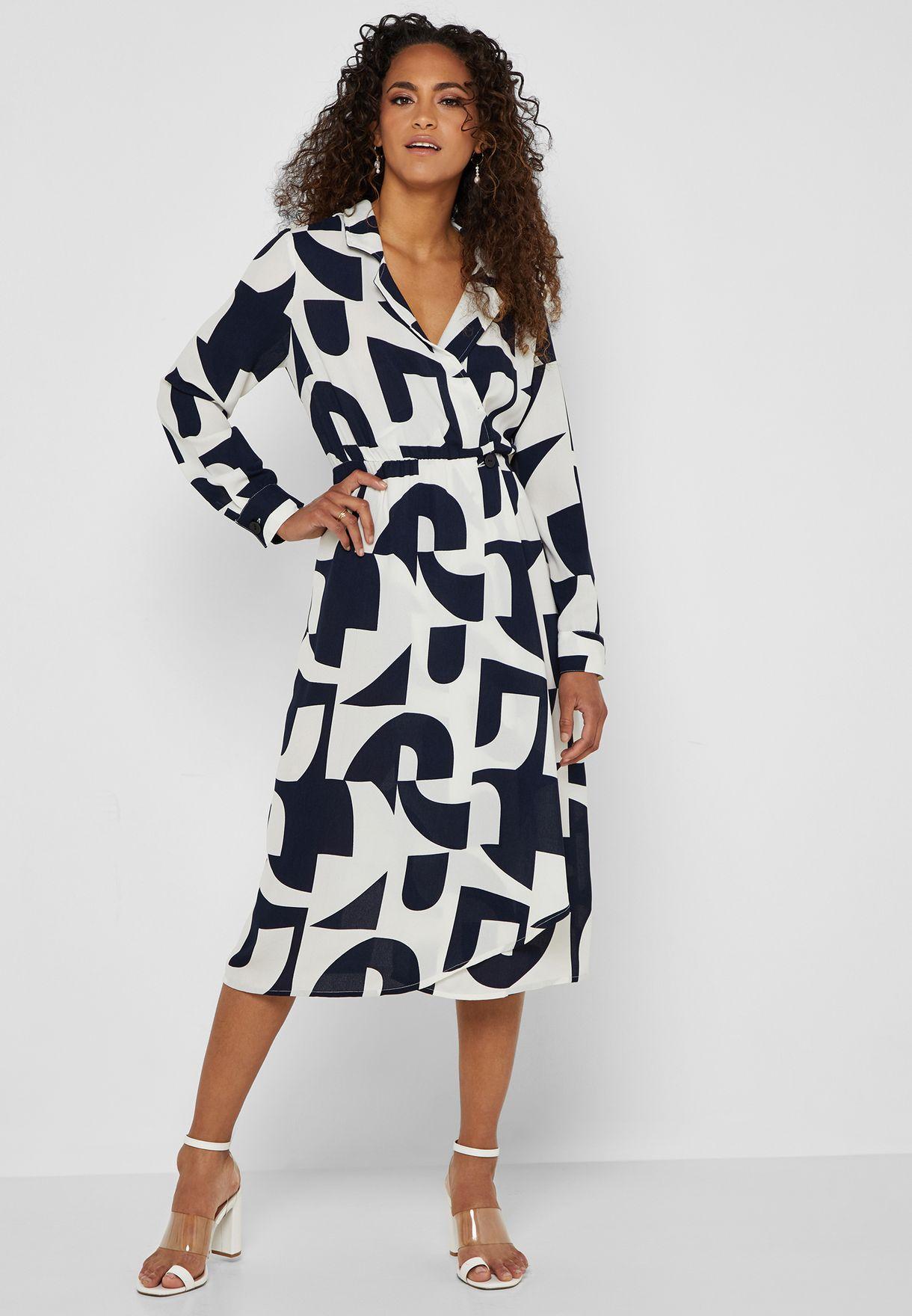 Printed Button Detail Wrap Dress