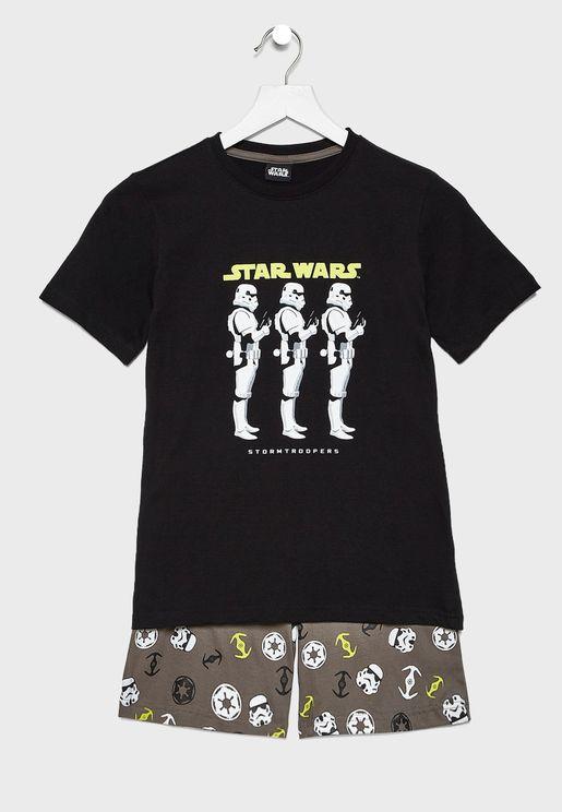 Kids Star Wars Top + Short Pyjama Set