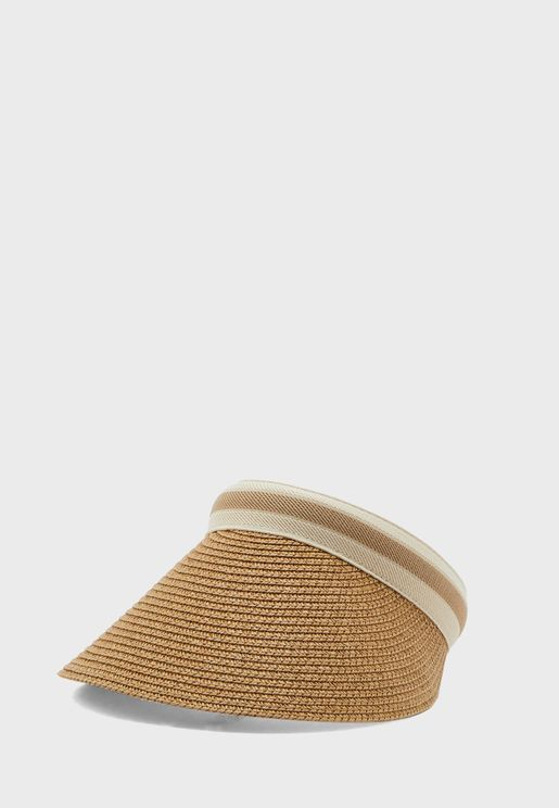 Straw Stripe Trim Visor
