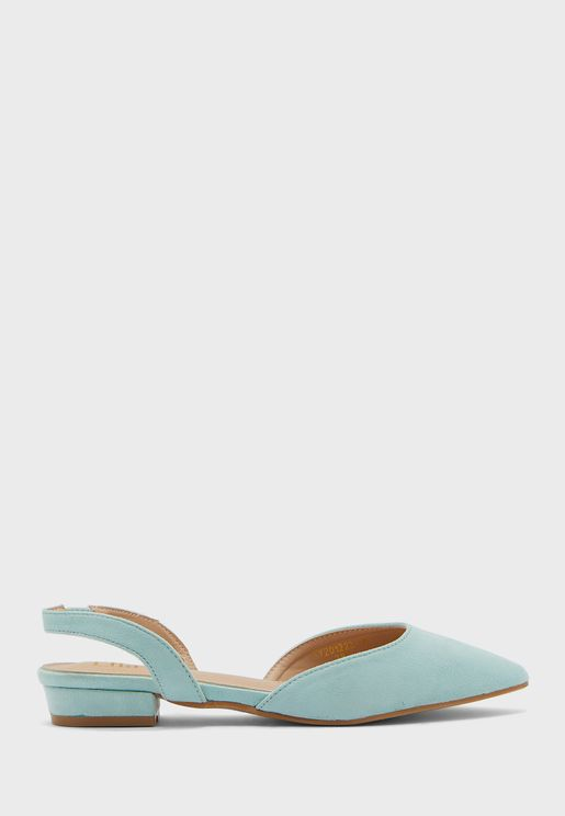 Bow Mixed Material Pointed Slingback Flat Shoe