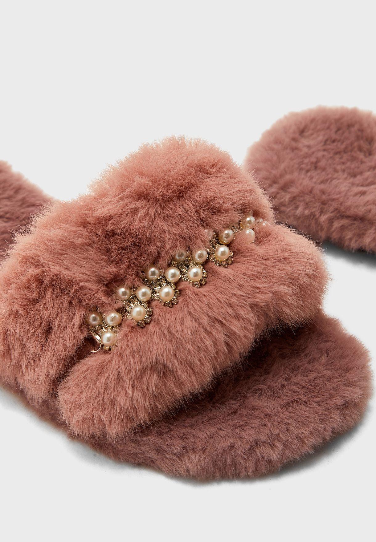 Fluffy Diamante Detail House Slipper