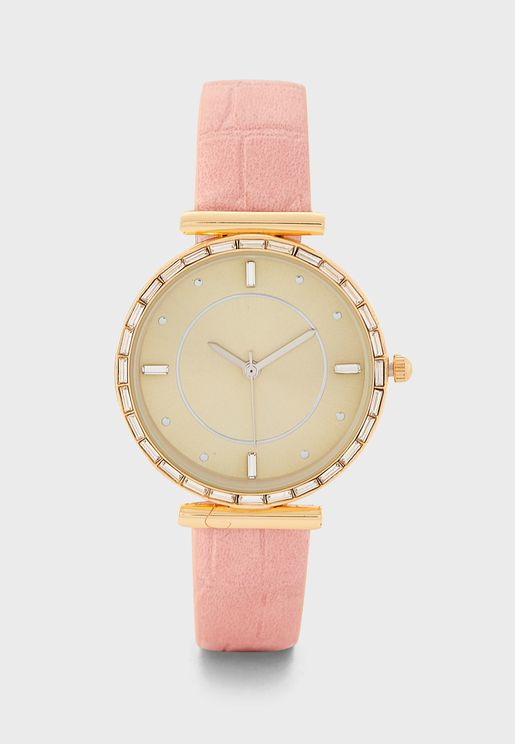 Crystal T-Bar Watch with Croc Strap
