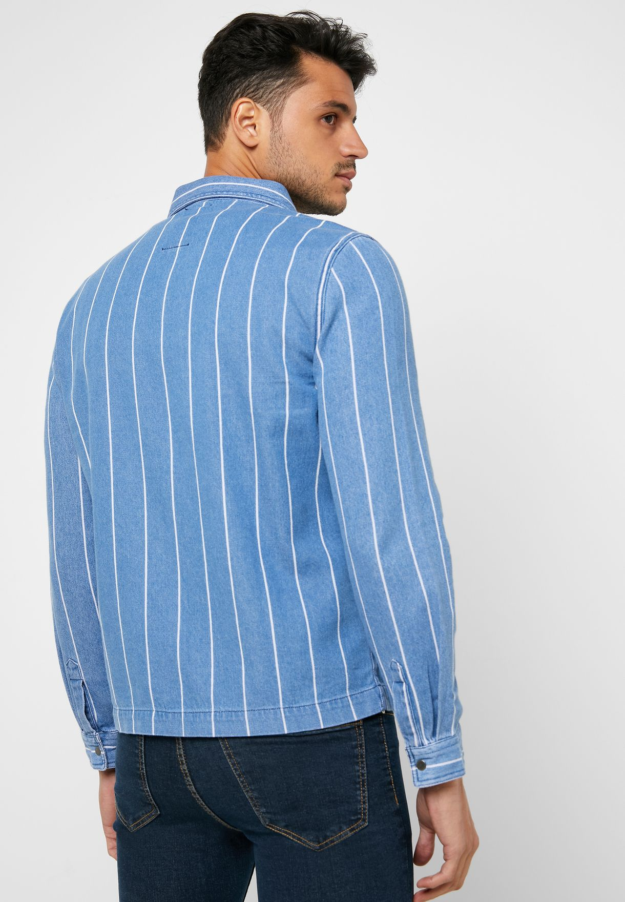Striped Denim Shacket