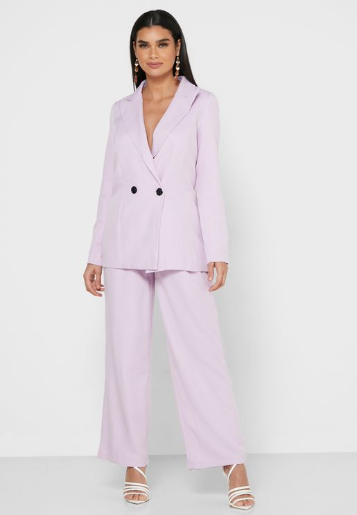 One Button Blazer Pants Set