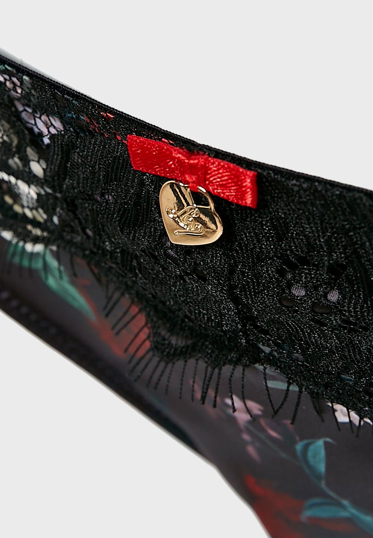 سروال رفيع (ثونغ) بطبعات ازهار