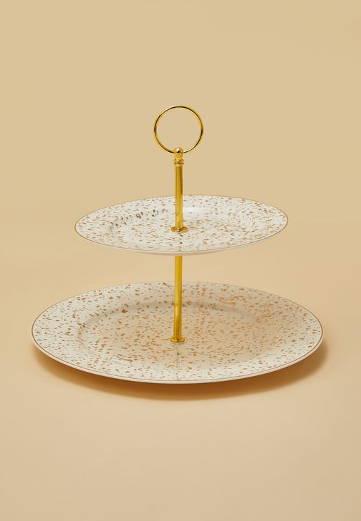Two Tier Gold Patterned Cake Stand