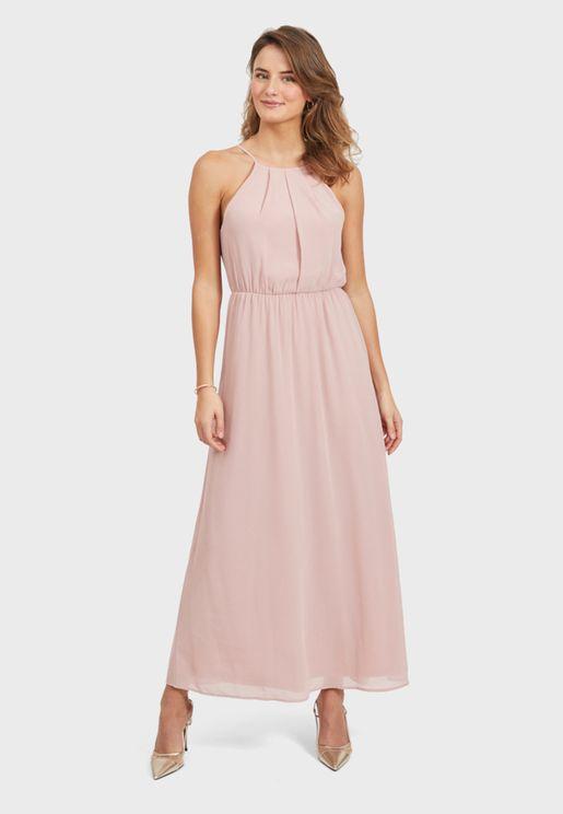 Halter Neck Ruched Detail Dress