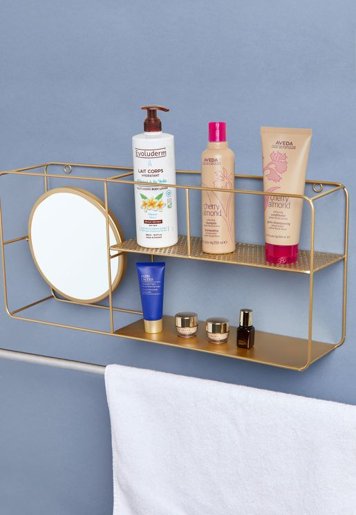 Gold Wire Shelf With Mirror