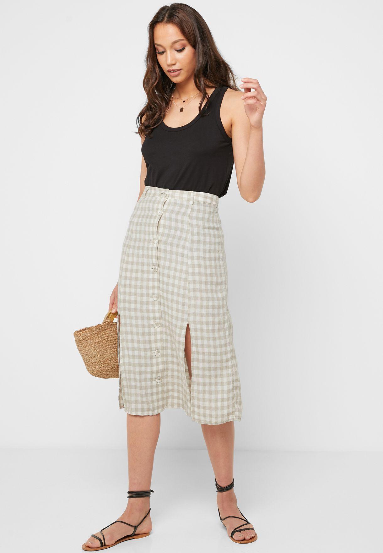 Front Slit Checked Skirt