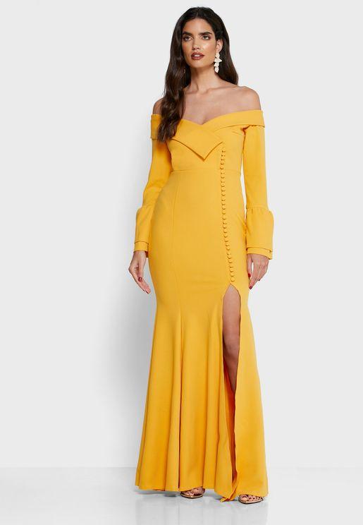 Flute Sleeve Bardot Slit Dress