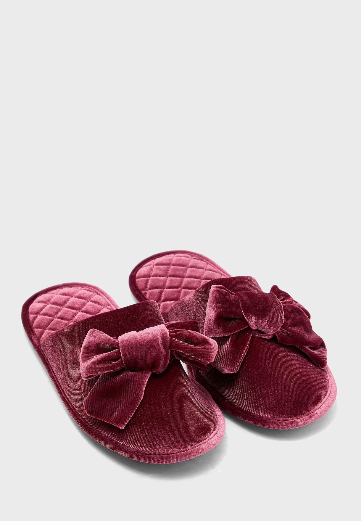 Velvet Bow Mule Slippers