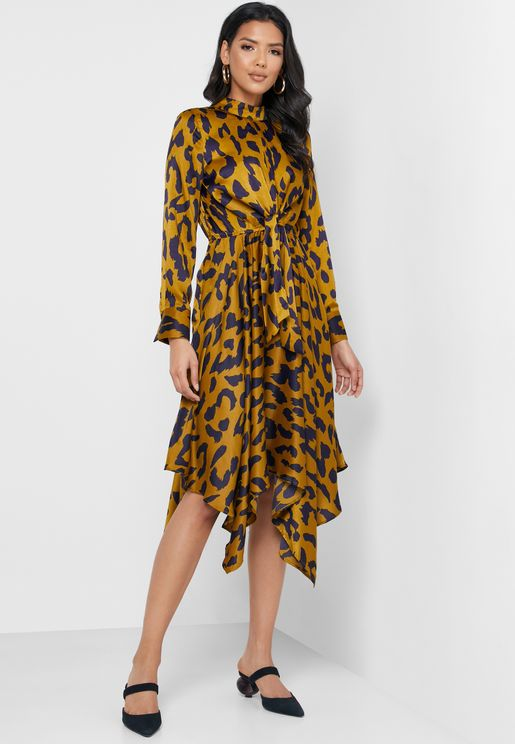 Asymmetric Twist Front Animal Print Dress