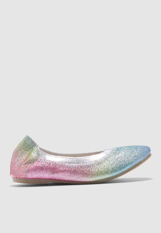 حذاء باليرينا للاطفال بألوان قوس قزح