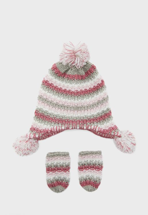 Little Knitted Beanie + Mittens Set