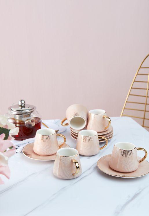 طقم شاي فناجين وصحون عدد 6