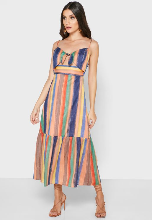 Front Tie Cut Out Striped Dress