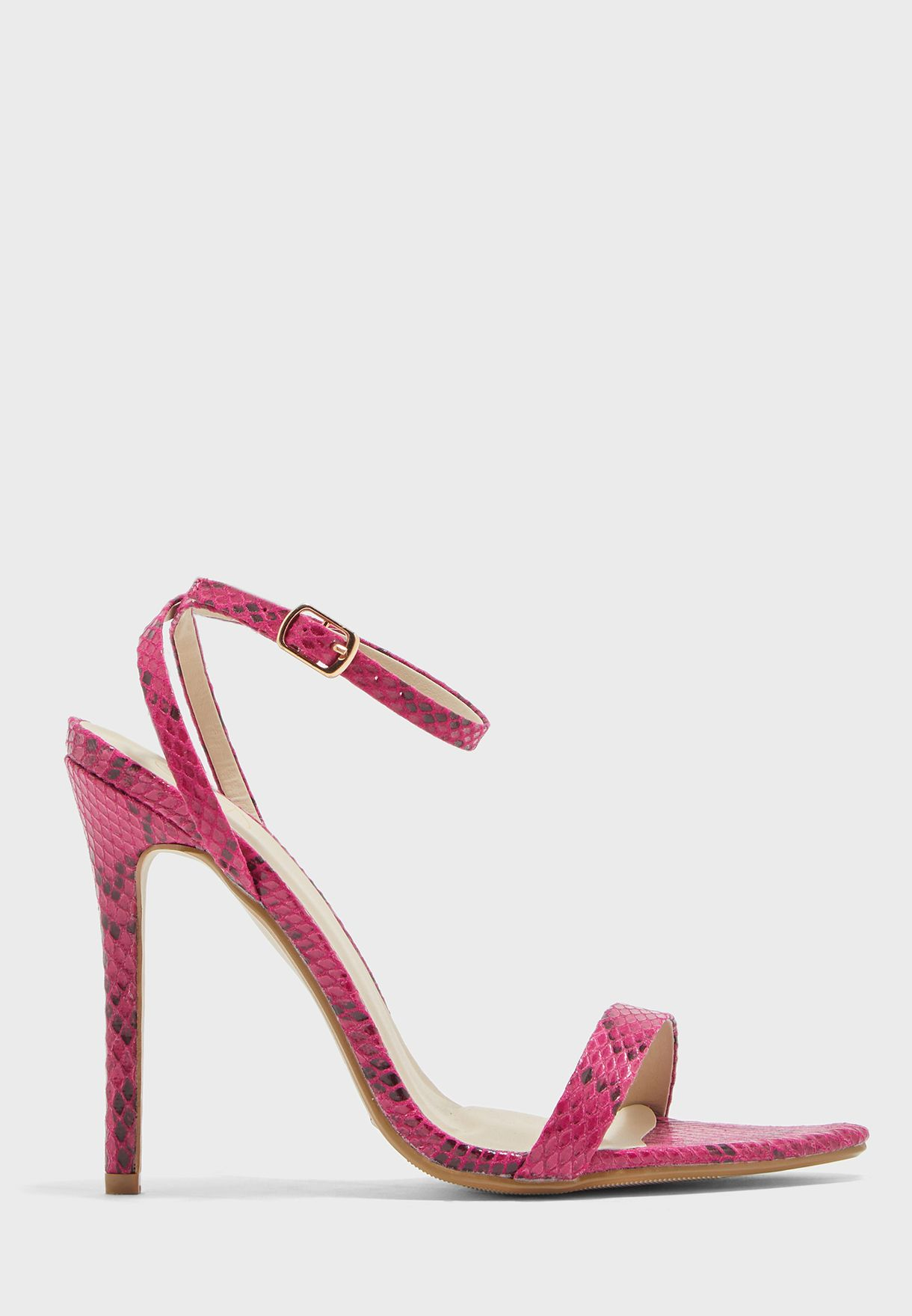 Snake Print Ankle Strap Mid Heel Sandal