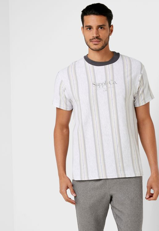 Downtown Striped Crew Neck T-Shirt