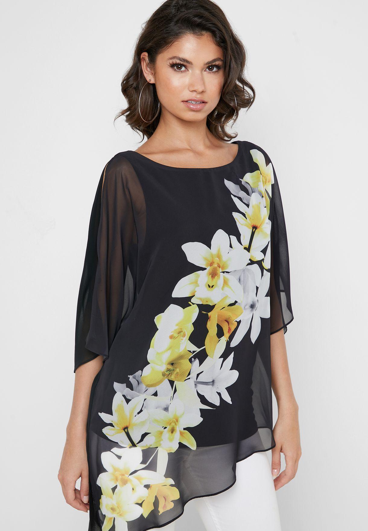 Asymmetric Floral Print Sheer Top