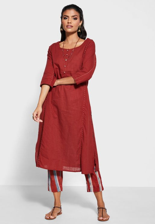 Cotton Round Neck Kurta with Pants
