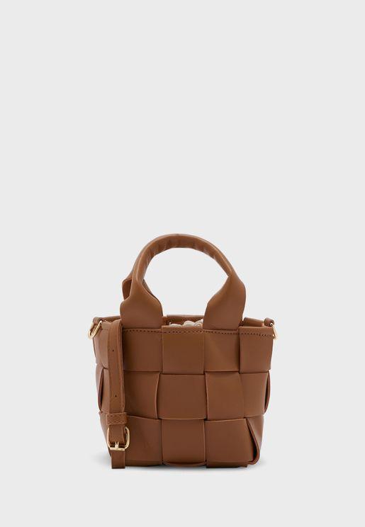 Weave Mini Tote Bag Wit Long Strap
