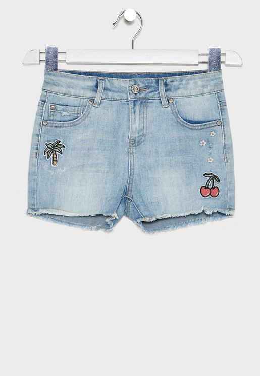 Kids Patched Denim Shorts