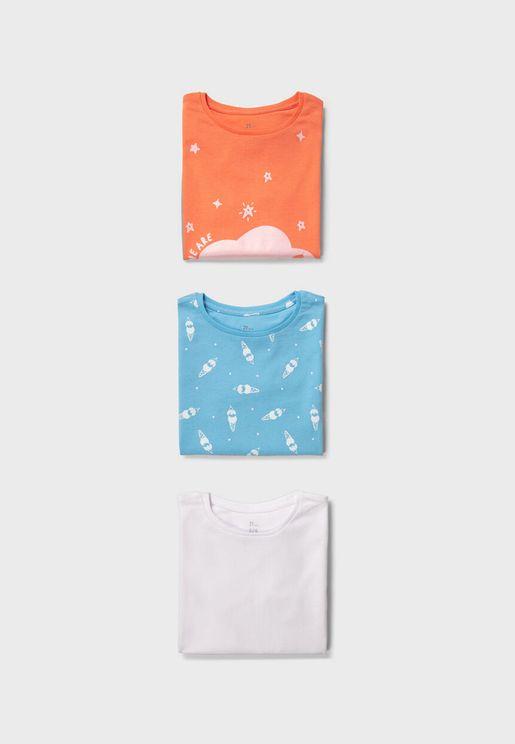 Kids 3 Pack Printed T-Shirt