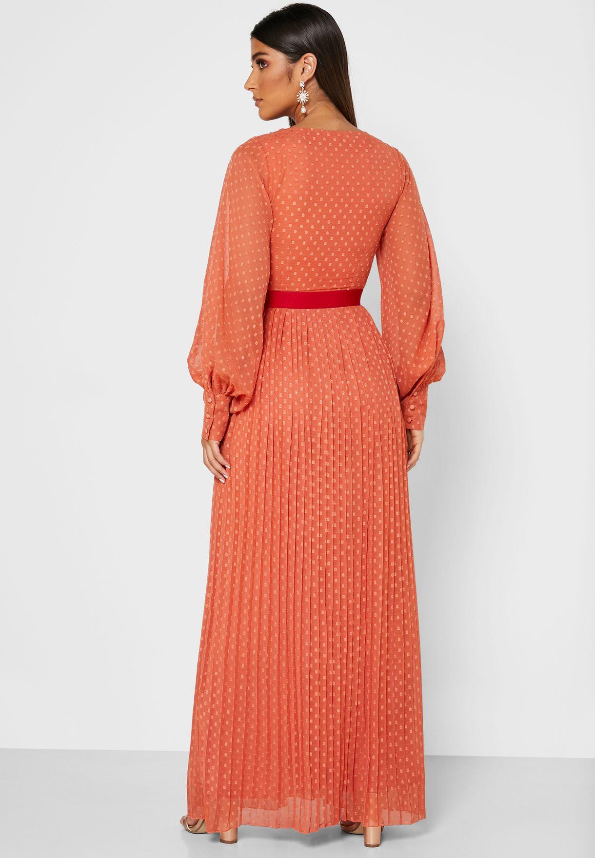 Lace Trim Balloon Sleeve Dress