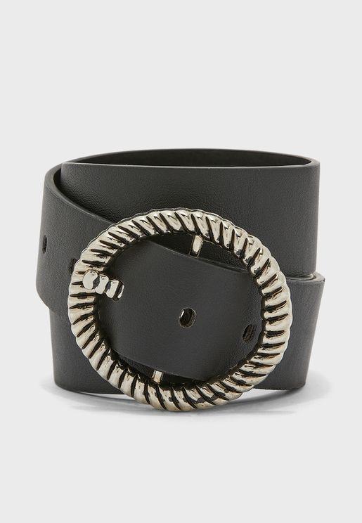 Textured Circle Buckle Belt