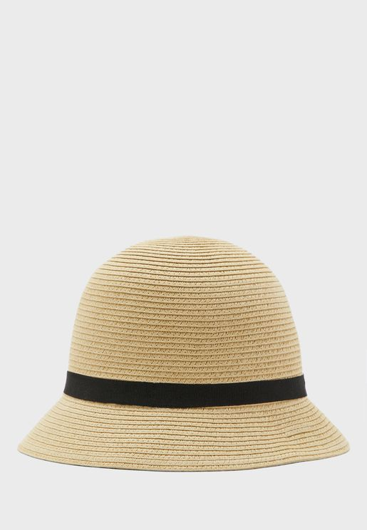 Cloche Straw Bucket Hat