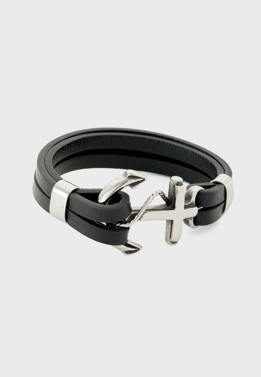 Genuine Leather Anchor Lock Bracelet