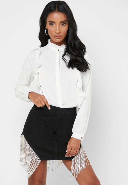 High Neck Ruffle Detail Shirt