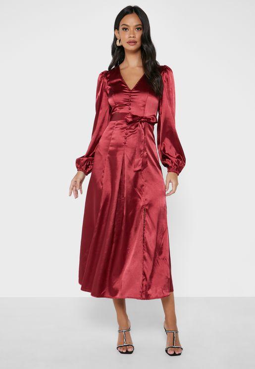 فستان ساتان باربطة