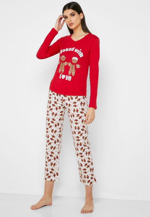 Gingerbread Christmas Pyjama Set