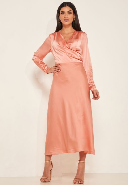 Obsessions Pleated Wrap Dress