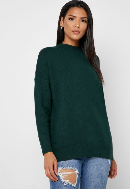 High Neck Longline Sweater